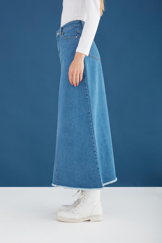 Pis Dikişli Yüksek Bel Mavi Jean Etek