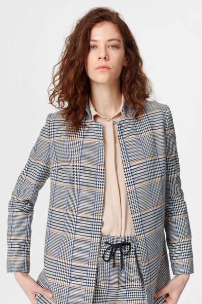 Plaid Casual Jacket (Blue/Grey) - Thumbnail