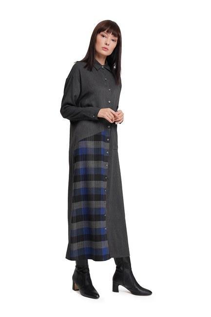 Mizalle - Plaid Dress (Anthracite) (1)