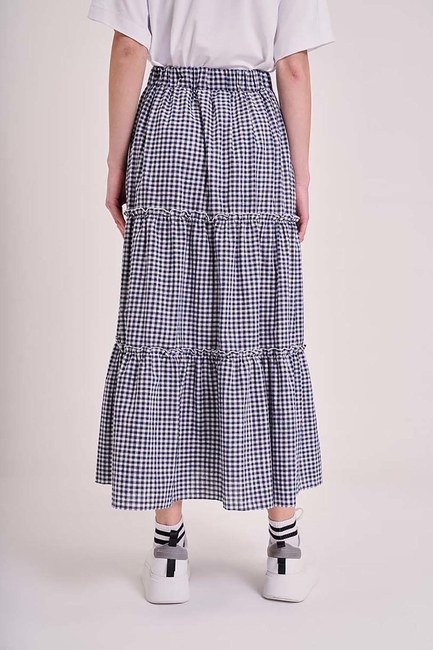 MIZALLE YOUTH - Plaid Folded Skirt (Navy Blue/White) (1)