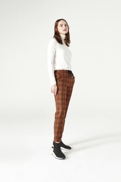 Plaid Lace Trousers (Brown) - Thumbnail
