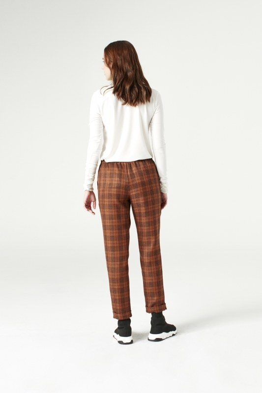 Plaid Lace Trousers (Brown)