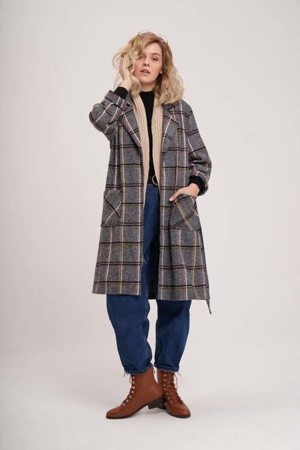 MIZALLE YOUTH - Plaid Long Jacket (Grey) (1)