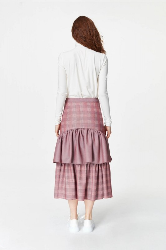 Plaid Long Skirt (Claret Red)