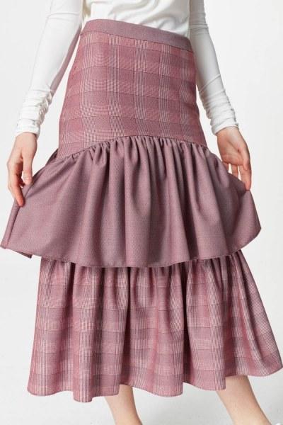 Plaid Long Skirt (Claret Red) - Thumbnail
