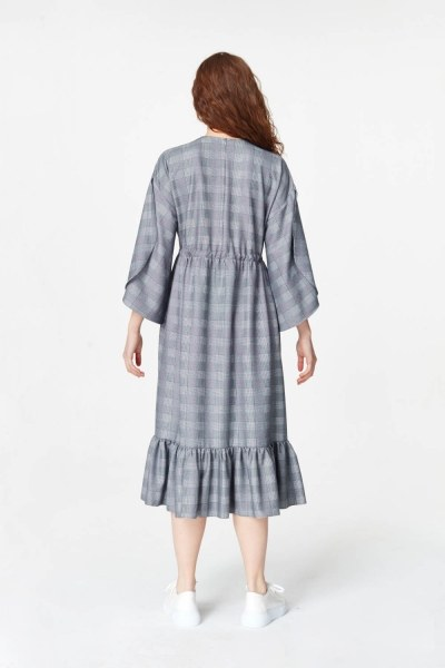 Plaid Patterned Long Dress (Navy Blue) - Thumbnail