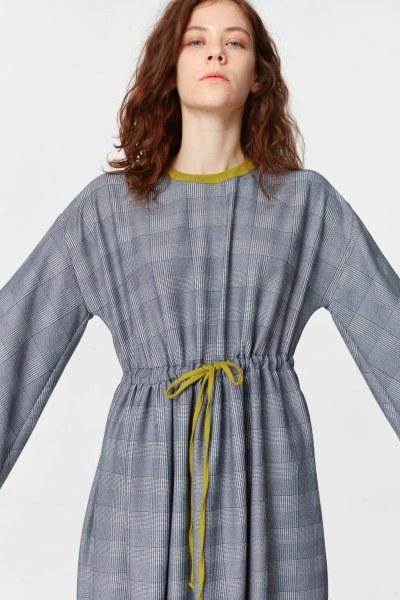 Plaid Patterned Long Dress (Navy Blue) - Thumbnail