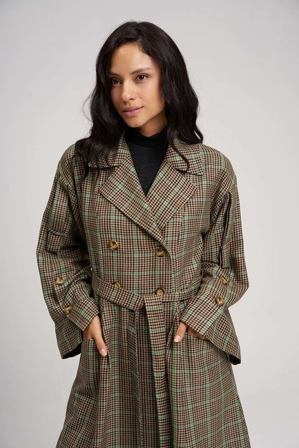 MIZALLE - Plaid Trench Coat (Green) (1)