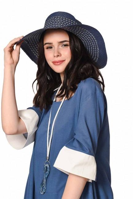 حقيبة الشاطئ وقبعة مجموعة (النيلي) - Thumbnail