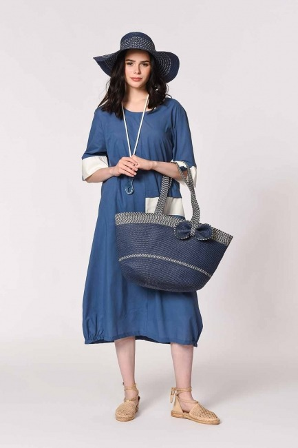 MIZALLE - Beach Bag and Hat Set (Indigo) (1)