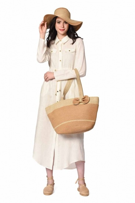 MIZALLE Beach Bag and Hat Set (Tan)