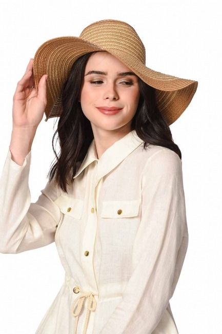 Plaj Çanta Şapka Takımı (Taba) - Thumbnail