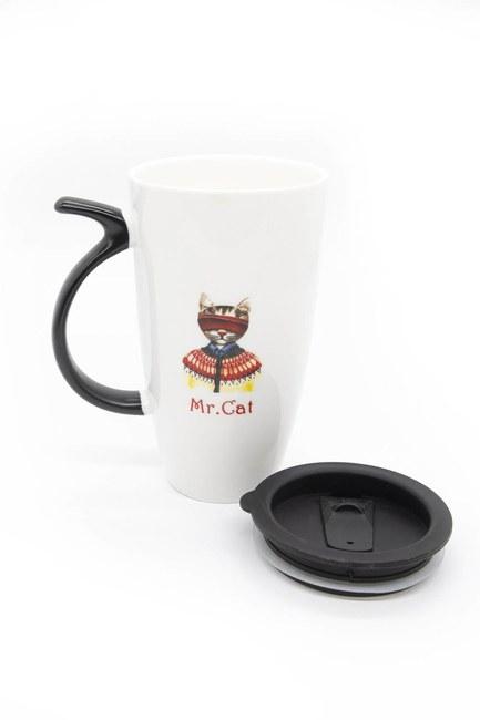 MIZALLE HOME - Porcelain Mug with Plastic Lid (White) (1)