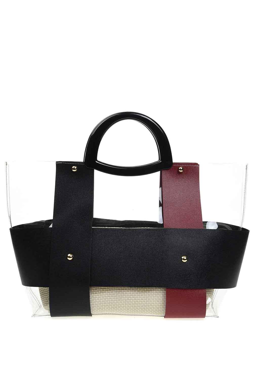 MIZALLE حقيبة يد شفافة مع مقبض بلاستيكي (عنابي) (1)