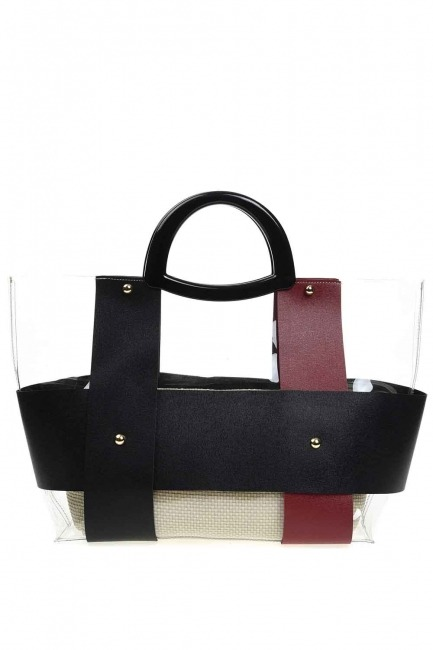 MIZALLE - حقيبة يد شفافة مع مقبض بلاستيكي (عنابي) (1)