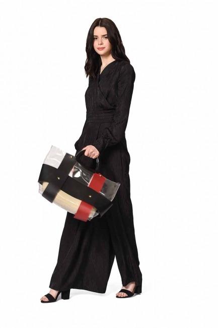 MIZALLE Transparent Hand Bag (Claret Red)