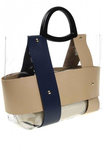 MIZALLE - حقيبة يد شفافة مع مقبض بلاستيكي (الأزرق الداكن) (1)