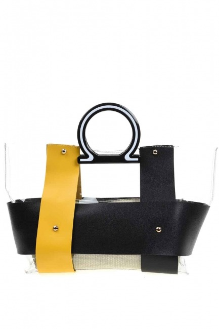 MIZALLE Transparent Hand Bag (Yellow)