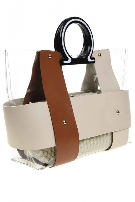 MIZALLE - Transparent Hand Bag (Tan) (1)