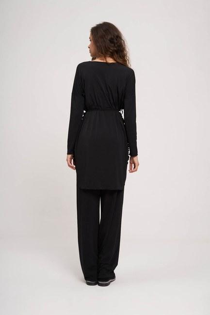 Pleated Fabric Tunic (Black) - Thumbnail