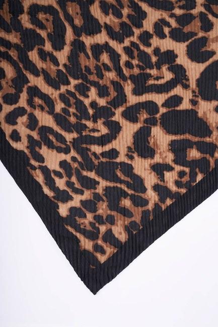 MIZALLE - شال برسومات الفهد سميك (أسود) (1)