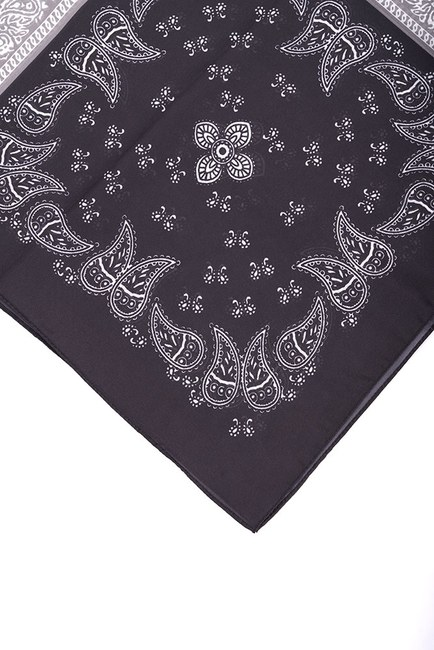 Mizalle - Pleated Patterned Scarf (Black) (1)