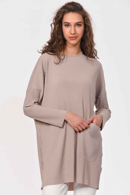 Pleated Pocket Detailed Blouse (Beige) - Thumbnail