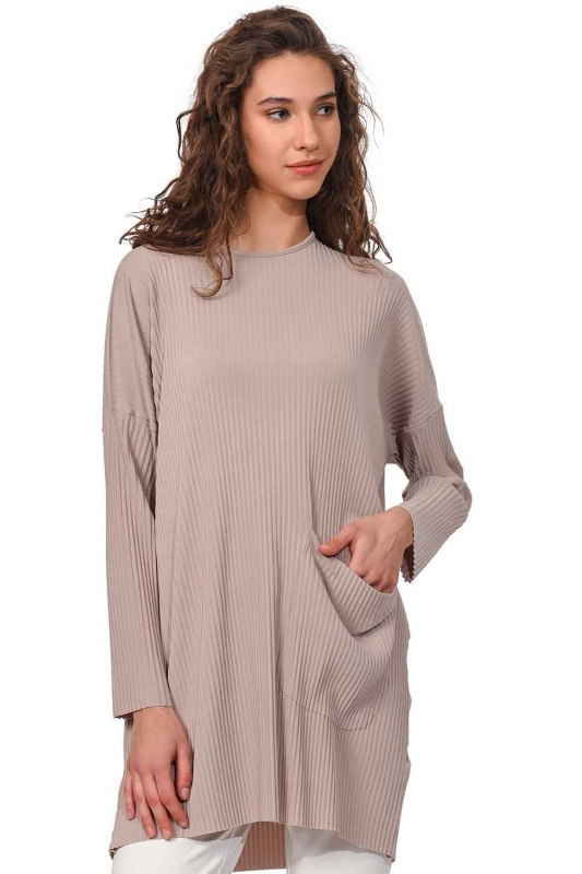 Pleated Pocket Detailed Blouse (Beige)