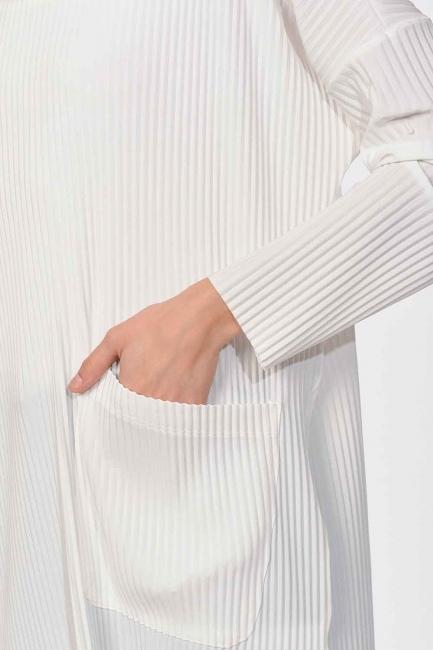 Pleated Pocket Detailed Blouse (Ecru) - Thumbnail