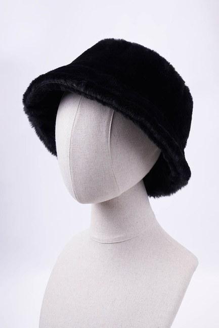 MIZALLE - قبعة دائرية بفرو قطني (أسود) (1)