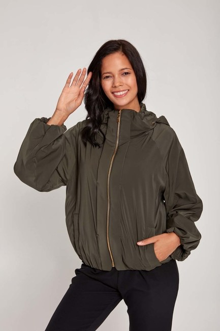 Plush-Lined Short Jacket (Khaki) - Thumbnail