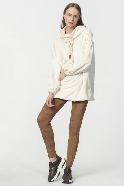 MIZALLE - قميص ثقيل القطيفة (لون البيج الرمادي) (1)