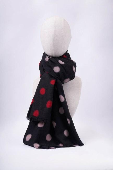 Mizalle - Polka Dot Thick Shawl (Black) (1)