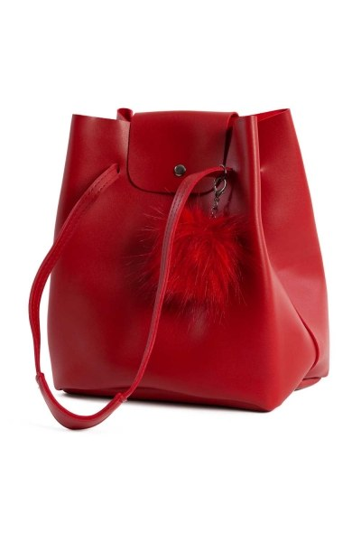 Pompon Detailed Square Shoulder Bag (Red) - Thumbnail