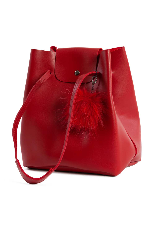 MIZALLE أضاليا مفصلة ، مربع ، حقيبة الكتف (الأحمر) (1)