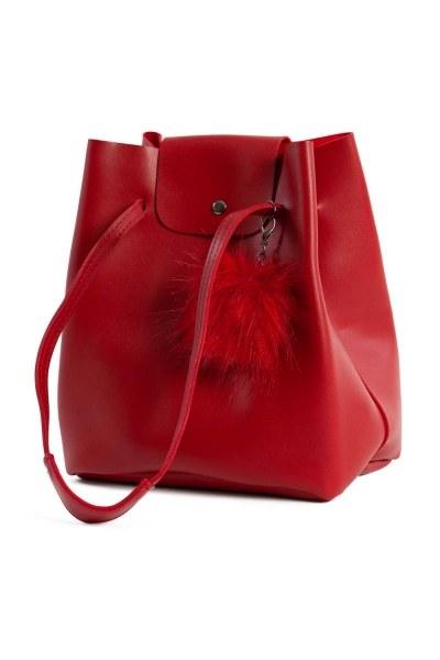 MIZALLE - أضاليا مفصلة ، مربع ، حقيبة الكتف (الأحمر) (1)
