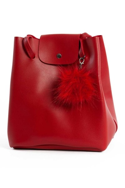 MIZALLE Pompon Detailed Square Shoulder Bag (Red)