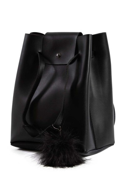 MIZALLE Pompon Detailed Square Shoulder Bag (Black)