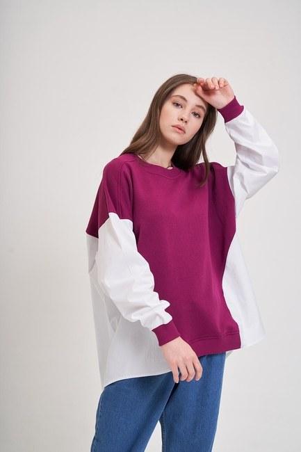 Mizalle - Poplin Gömlek Detaylı Sweatshirt (Mürdüm)
