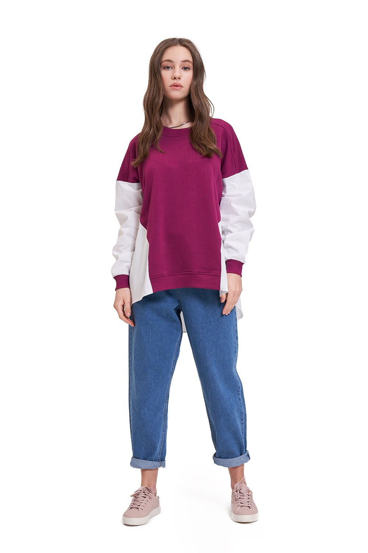 Ekru-Mürdüm Parçalı Sweatshirt