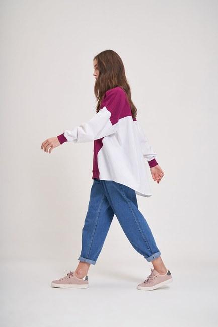 Poplin Gömlek Detaylı Sweatshirt (Mürdüm) - Thumbnail