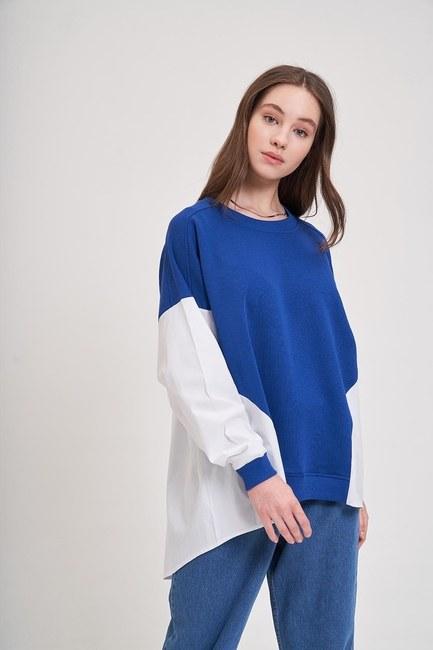 Mizalle - Poplin Gömlek Detaylı Sweatshirt (Saks)