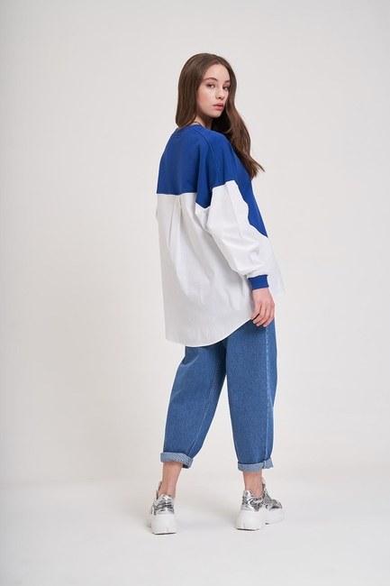 Poplin Gömlek Detaylı Sweatshirt (Saks) - Thumbnail