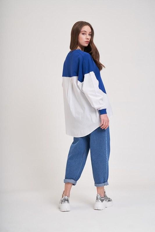 Poplin Gömlek Detaylı Sweatshirt (Saks)