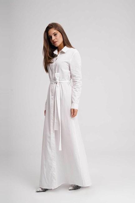 MIZALLE - Poplin Maxi Gömlek Elbise (Ekru) (1)