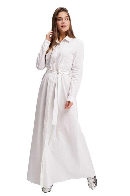 Poplin Maxi Shirt Dress (Ecru)