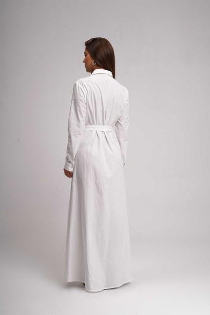 Poplin Maxi Shirt Dress (Ecru) - Thumbnail