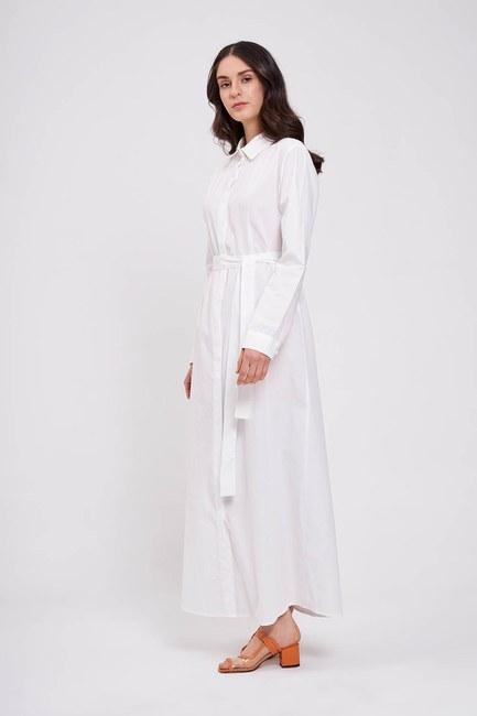 Mizalle - Poplin Maxi Gömlek Elbise (Ekru)