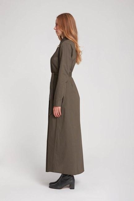 MIZALLE - فستان بنمط قميص بوبلين (كاكي) (1)