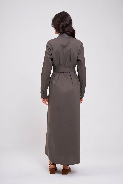 Poplin Maxi Gömlek Elbise (Haki)